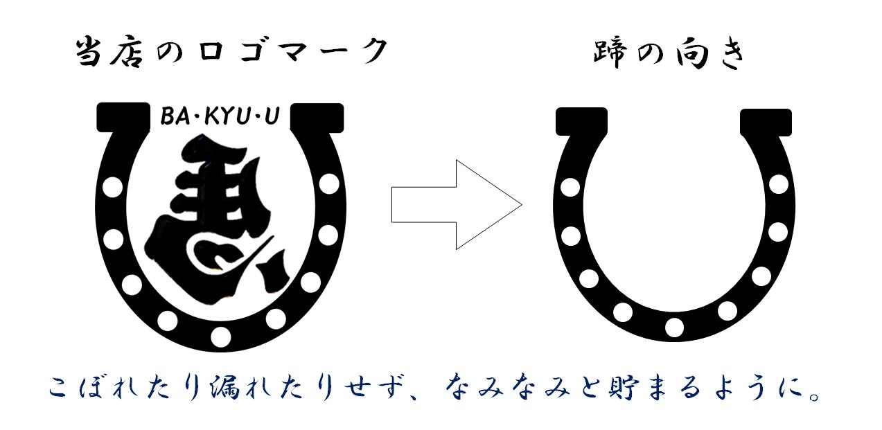 馬九のロゴマーク蹄鉄の向きの意味の画像